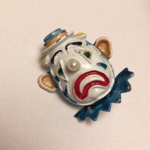 Vintage Sad Clown Pin